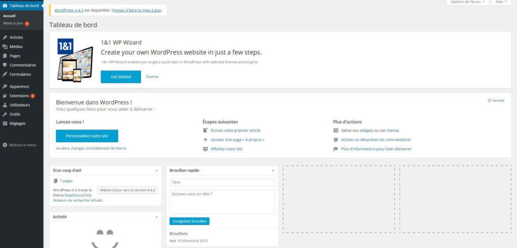 Back office WordPress